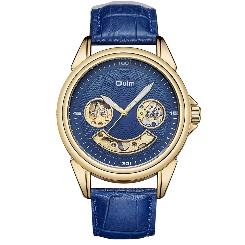 Oulm Big Watches for Men Multiple Time Zone Sport Quartz Clock Male Casual Leather Two Design Luxury Brand Men's Wristwatch