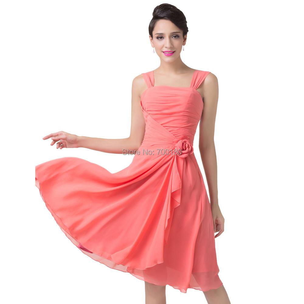 2015 robe de soiree a line short straps wedding party dresses watermelon chiffon short prom. Black Bedroom Furniture Sets. Home Design Ideas