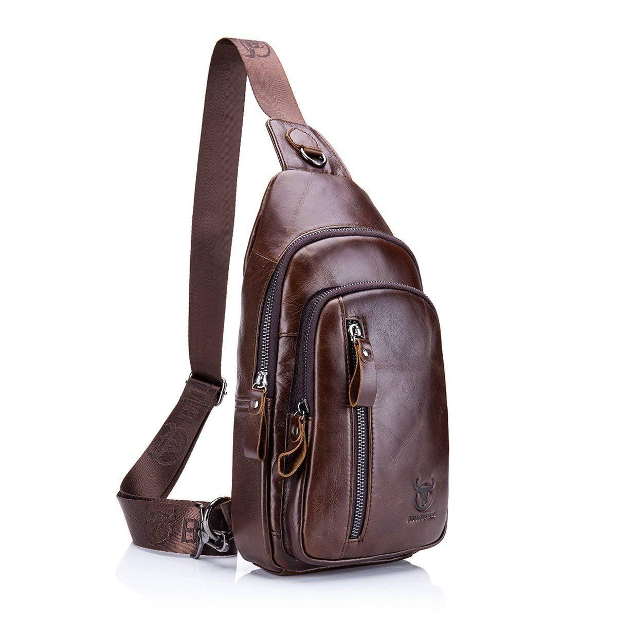 Sling bag Men Genuine Leather Chest Bag ELASZ Men/'s Pendant Bags Bust Bags Walle