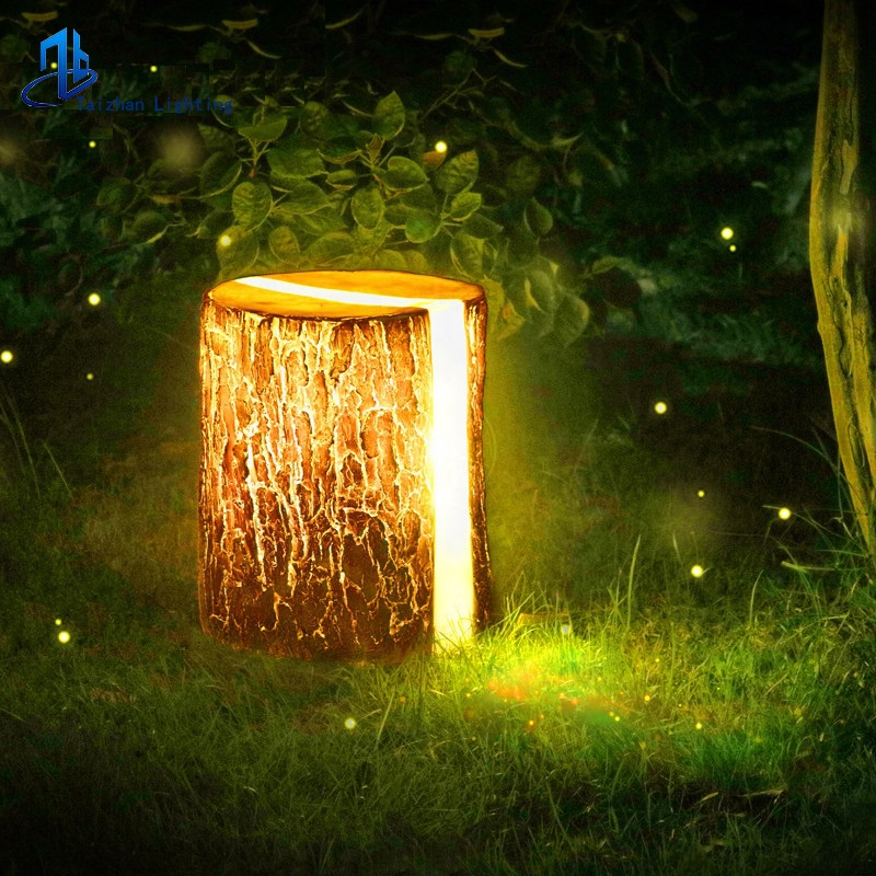 Открытый новый дизайн дерево пень светодиодный свет Декоративный Деревянный Пирс Газон Свет Сад Смола деревянный ворс ландшафтное освещение