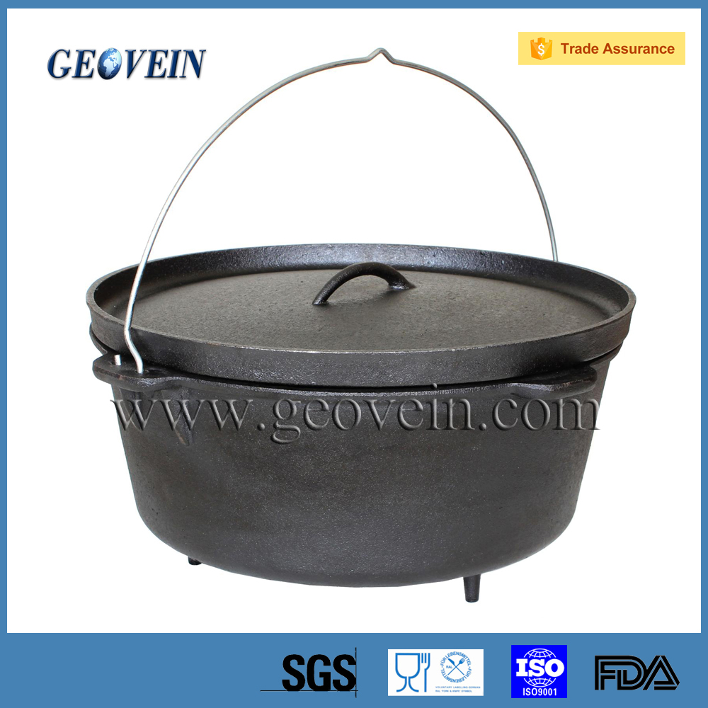 3 Legged Big Cast Iron Cauldron Pot Camping Dutch Oven Pot