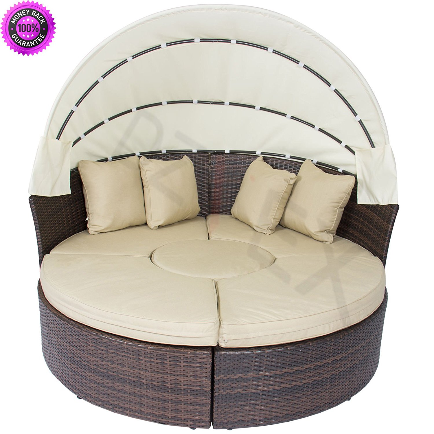 DzVeX Outdoor Patio Sofa Furniture Round Retractable Canopy Daybed Brown Wicker Rattan And patio furniture home depot patio furniture clearance sale patio furniture sets patio furniture lowes