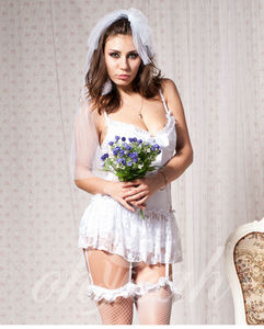 Fast shipping latest bride babydoll mature women plus size lingerie