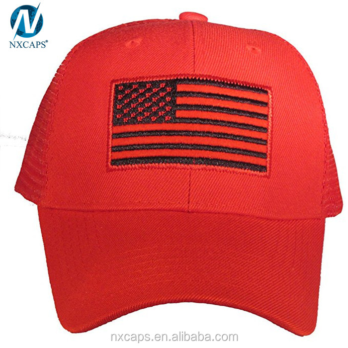 Tactical style baseball cap with us flag patch camo mesh baseball trucker cap flat top military cap