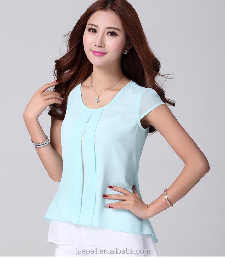8c0d8a0ac 2015 nueva moda para mujer ruffles manga corta verano camisas de la gasa  blusa de la