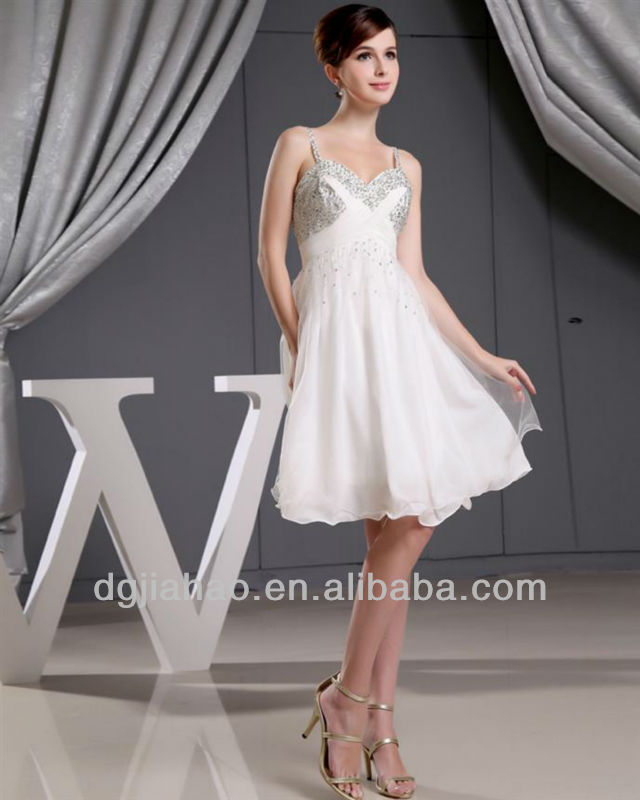2013 Style Beaded Spaghetti Straps White Cocktail Dress