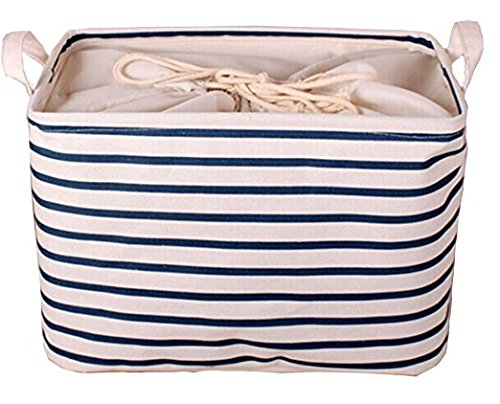 GreenForest Cotton Blend Linen Convenient Collapsible Storage Bin Basket With Totes,Closet Drawer ,Blue Strips(13.6x10x7Inches)