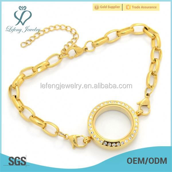 Fashion gold bracelet manufacturer floating charms locket chain link bracelet designs children