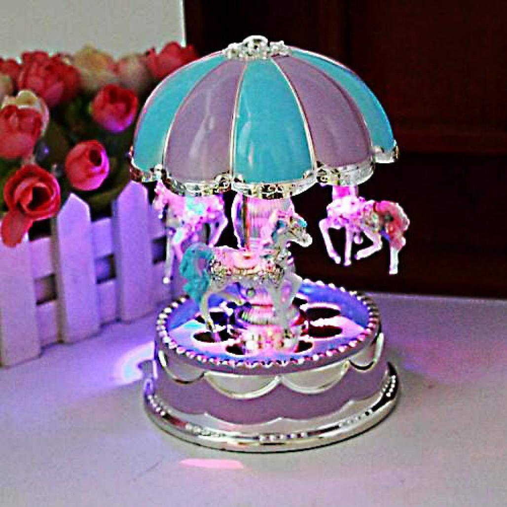 Iusun Luxury Carousel Music Box, Merry-Go-Round Music Box, Valentine's Christmas Birthday Gift Toys for Girls - Ship From USA (Purple)