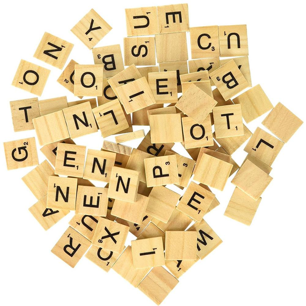 Wholesale Wood Toy Cutting Wood Capital Scrabble Tile Letters for Crafts, Spelling, Classroom