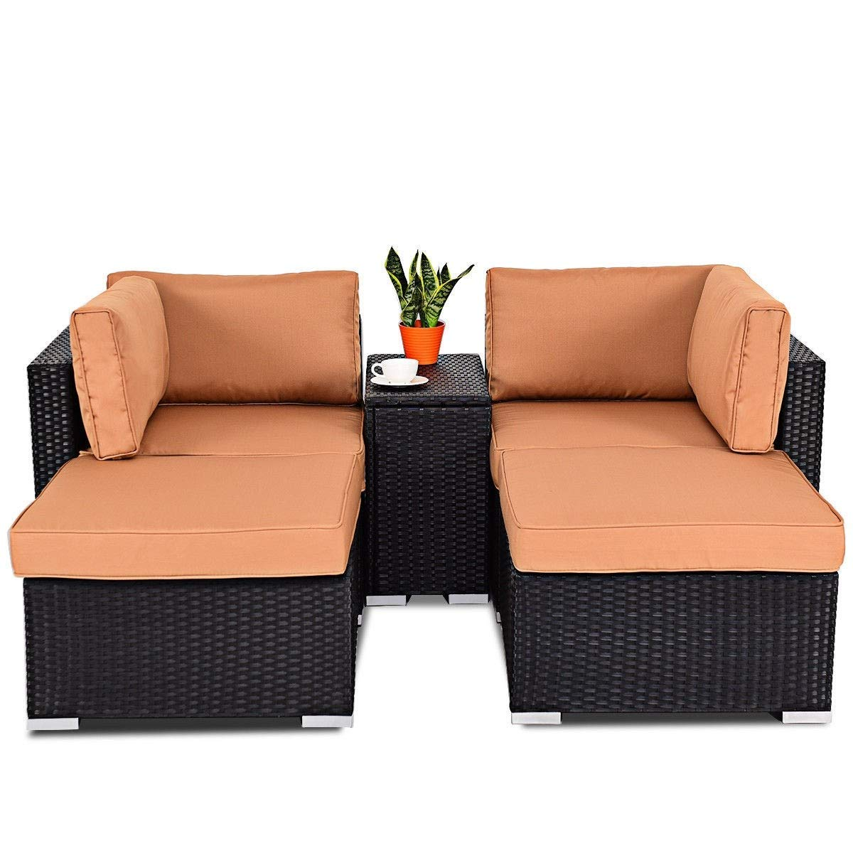 BeUniqueToday 5 pcs Outdoor/Indoor Wicker Sectional Chair Lounge Daybed Set, Made of Rattan Material and Steel Frame, Light to Portable