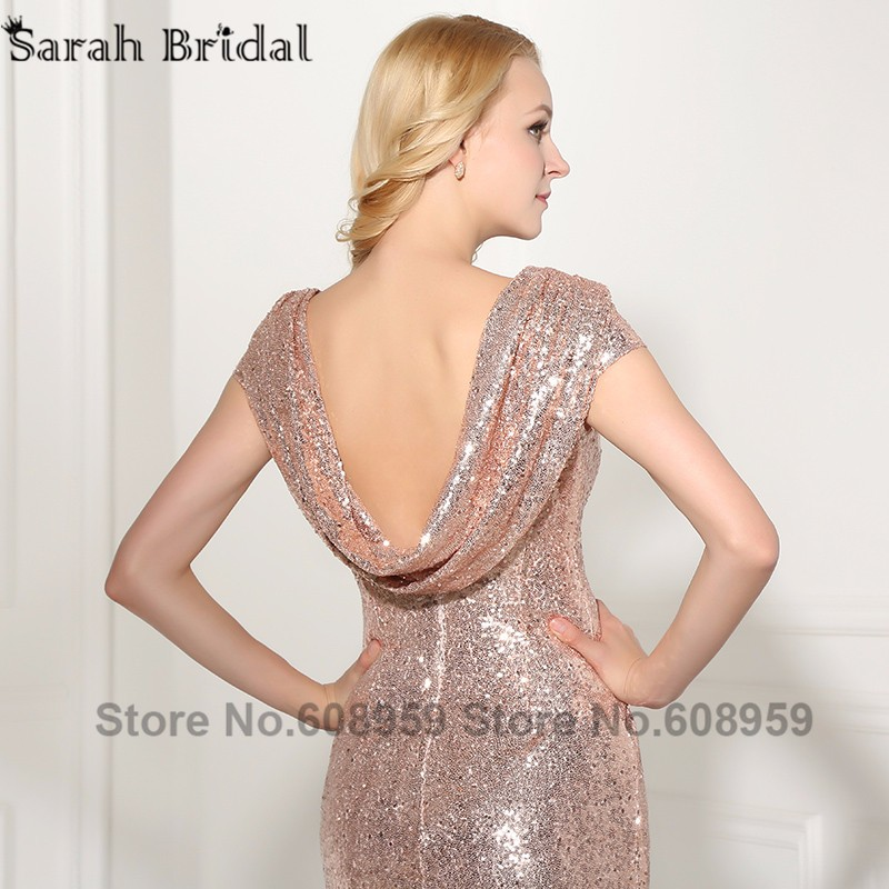 Sexy Cowl Backs Rose Gold Sequined Evening Dresses New Real Pictures Backless  Mermaid Party Gown with Sleeves Vestido SLD347. 05b 05e 05h 05i b056088f3f2d