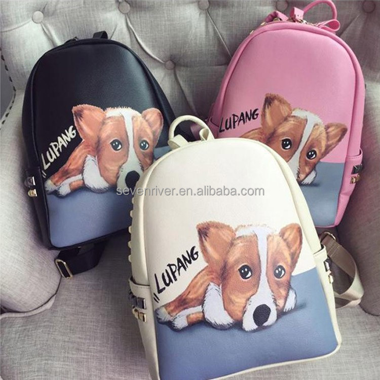 Wholesale Custom PU Leather New Unique Pattern Printing Dog Backpack