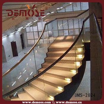 Glass Railing Wood Stair/glass And Wood Stairs/Led Glass Stair
