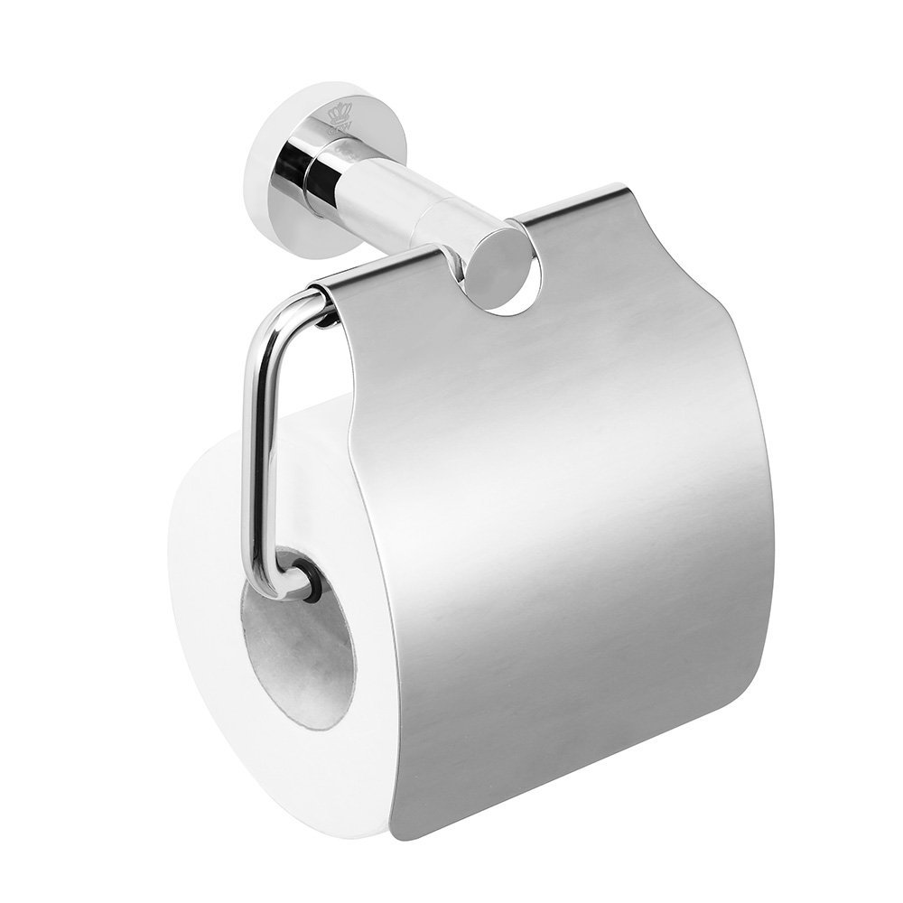 CRW Toilet Tissue Holder, Storage Dust-proof Toilet Paper Roller Holder for Your Home, Kitchen, Bathroom and Office with Brushed Chrome Finish 90111