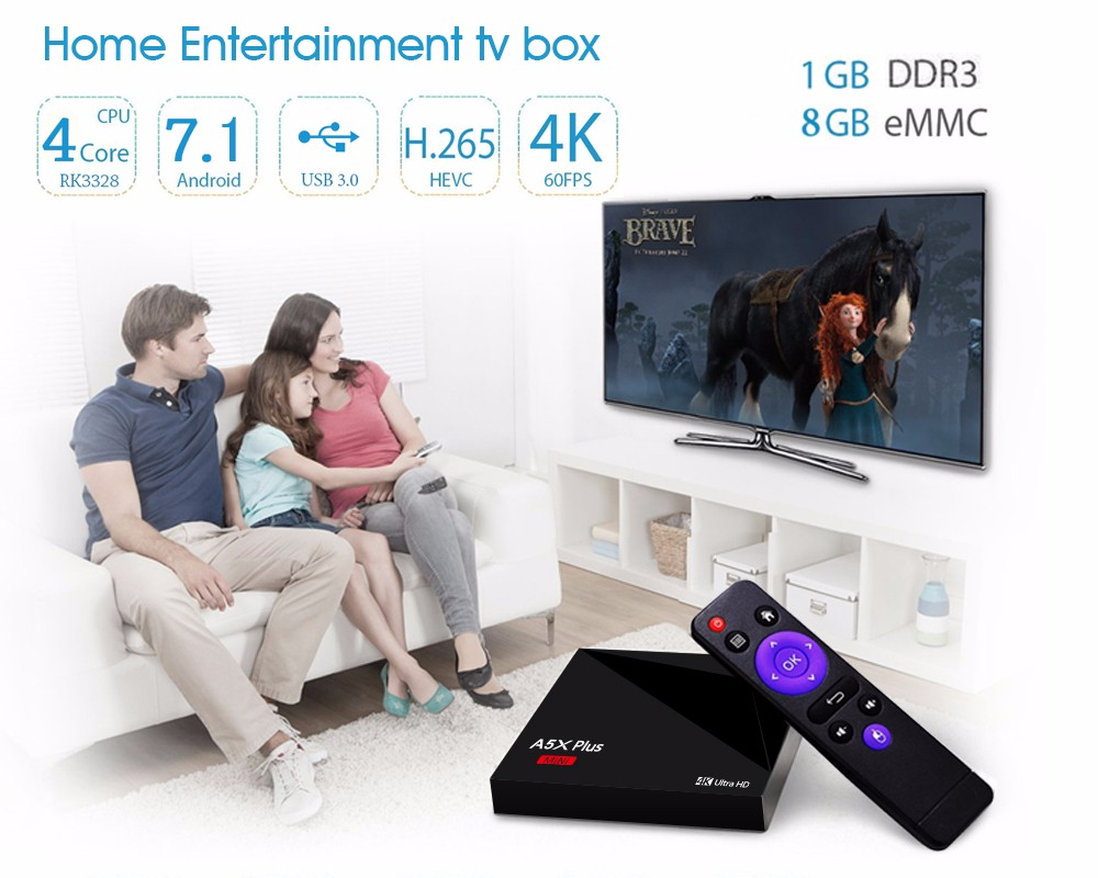 RK3328 rockchip A5X Plus Android TV caja Android 7.1 nugur os 1 GB 8 GB HD2.0 USB3.0 vontar A5x más VP9 H.265 HDR10 Media Player