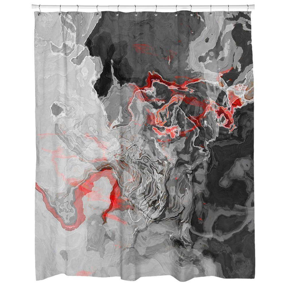 Get Quotations Abstract Art Shower Curtain In Red Black Gray And White Shadow Land