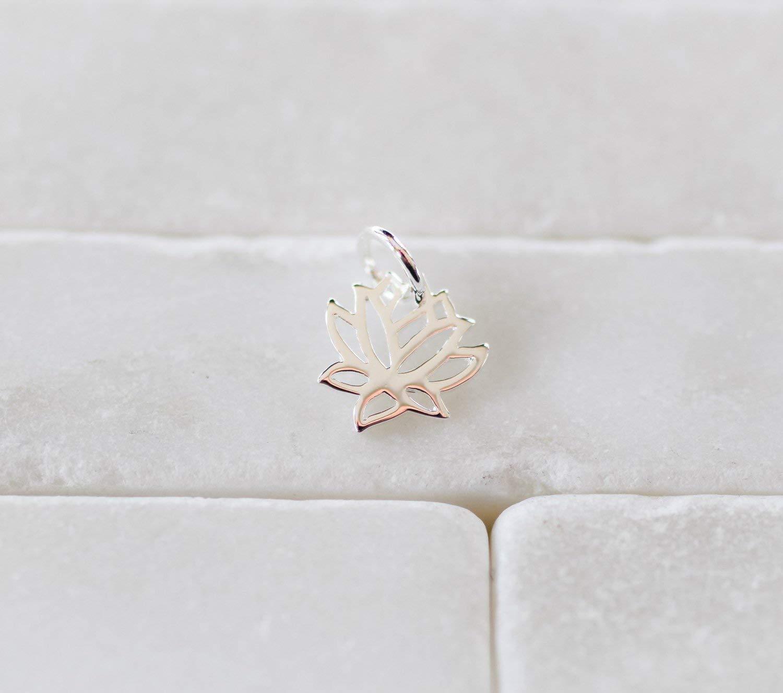 Sterling Silver Lotus Flower Yoga Zen Namaste Jewellery Connector Pendant Charm