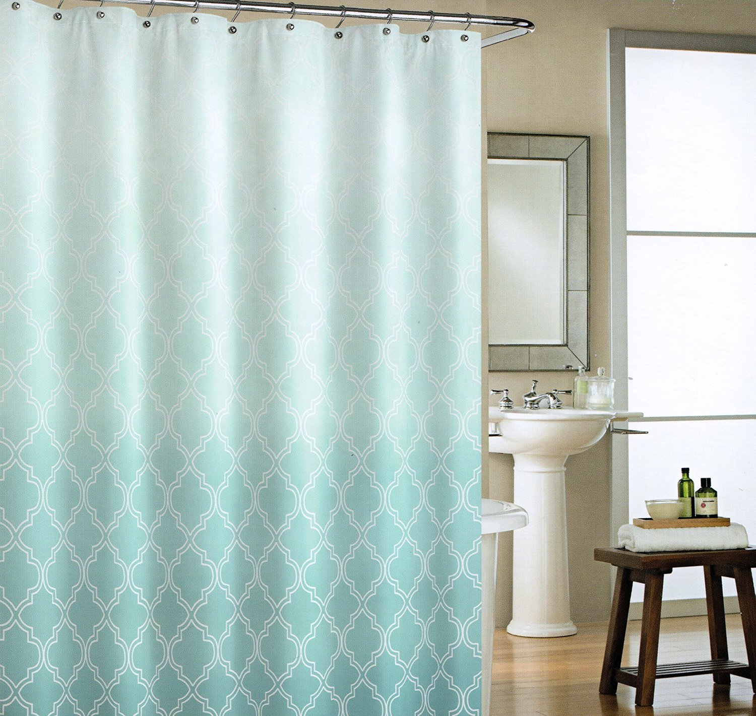 Cynthia Rowley Classic Moroccan Tile Quatrefoil Ombre Turquoise Blue White  Fabric Shower Curtain Bracket Lattice