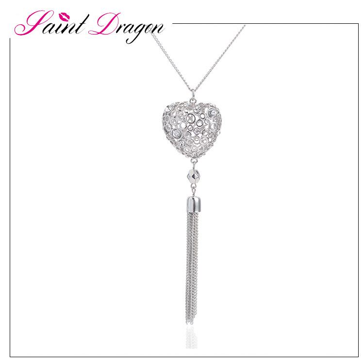 Hot saling fashion tassel dress accessories alloy chain necklace with crystal heart pendant