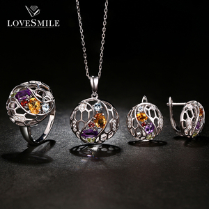 Fashion design fancy unique bridal jewelry necklace earring sets with multi stone