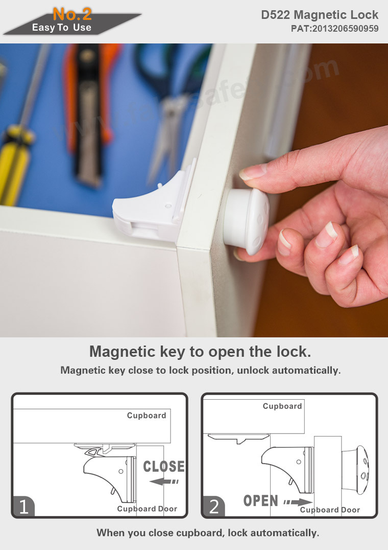 Magnetic Cabinet Lock By Child Protect Safety 8 Magnetic Locks + 2 ...