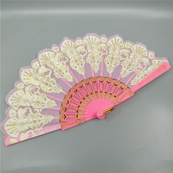 23cm new spanish plastic ladies dance hand fan delicate peacock lace gilding wedding fans