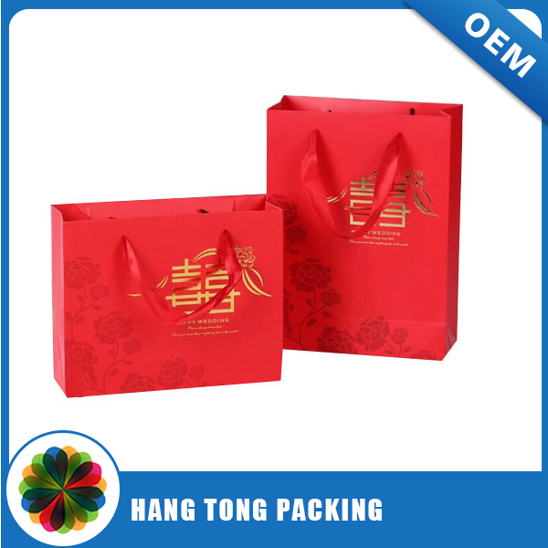 2015 golden logo foli stamping wedding gift paper bag design
