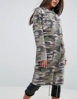 2020 New fashion hot sale ODM&OEM wholesale custom lady drawstring funnel neck washed camo printed regular fit hooded parka coat