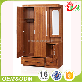 Bedroom Wood Clothes Cabinet MDF Wardrobe Design With Mirror FC303
