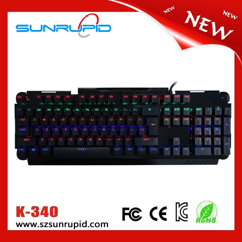 Aluminum alloy plate Outemu blue shaft usb RGB mechanical gaming keyboard with usb interface