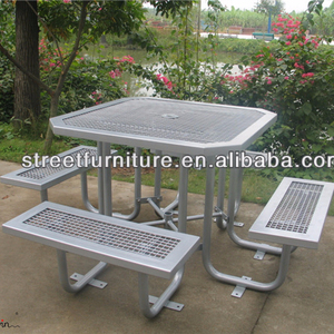 ISO certified rust proof park square antique picnic tables bench metal table legs