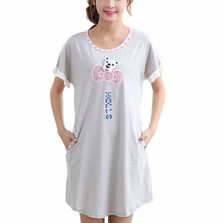 Get Quotations · Women Nightgowns Animal Cute Bear Cotton Lace Sleepwear  For Girls Female Lady Summer Dress Nightwear Indoor cb645e77a