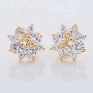New 2018 Latest Gold CZ Dubai Gold Jewelry Earring Designs