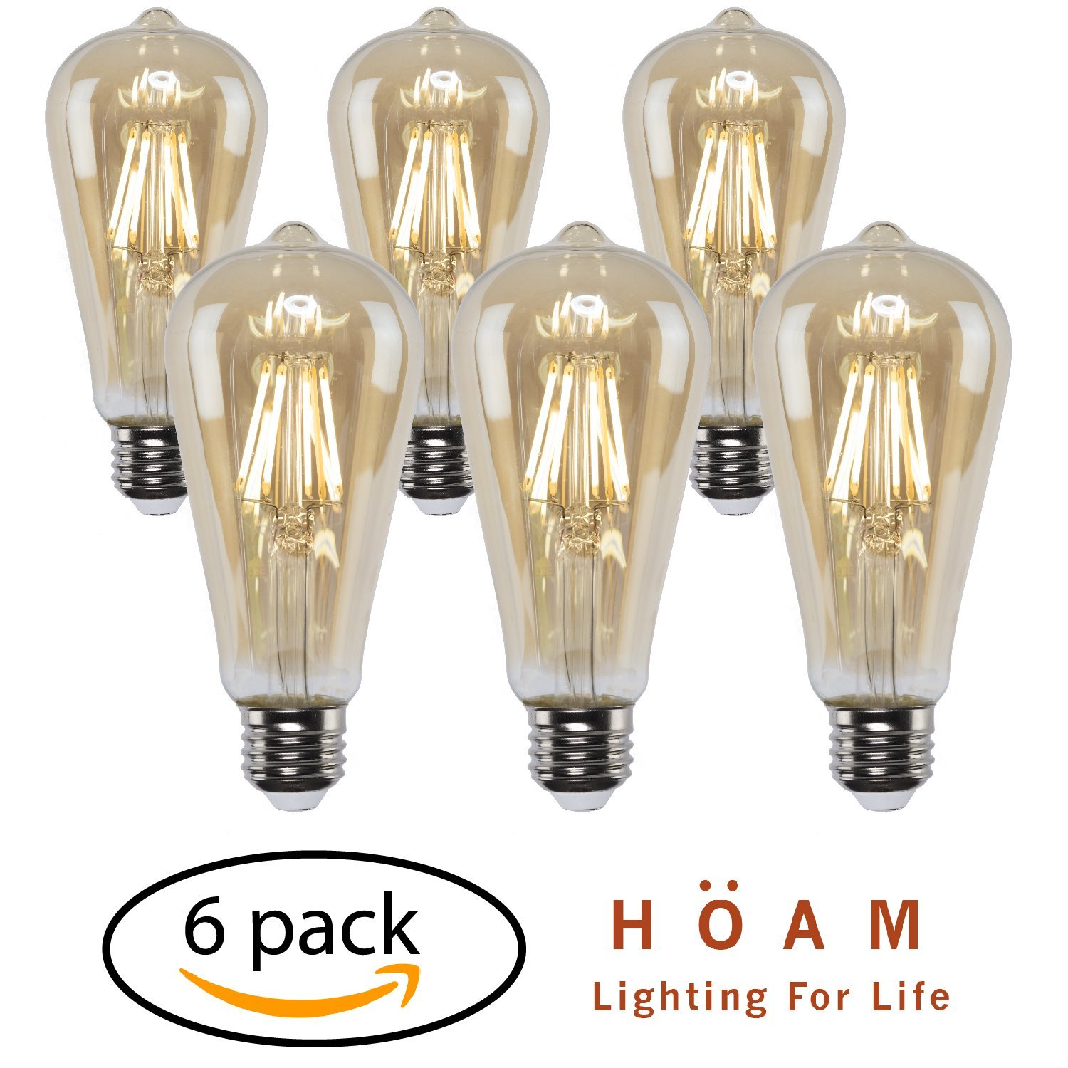 Vintage Edison Bulbs from HOAM Lighting, 6 Pack With LED Filaments, Antique Style, 6W LED 60W Equivalent, 2700K Warm Color Temperature, ST18 ST64, E26 E27 Base, 120V