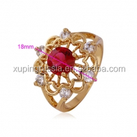 11158-xuping 18k gold color lady's gold ring, fashion turkish luxury flower ruby diamond ring for girls