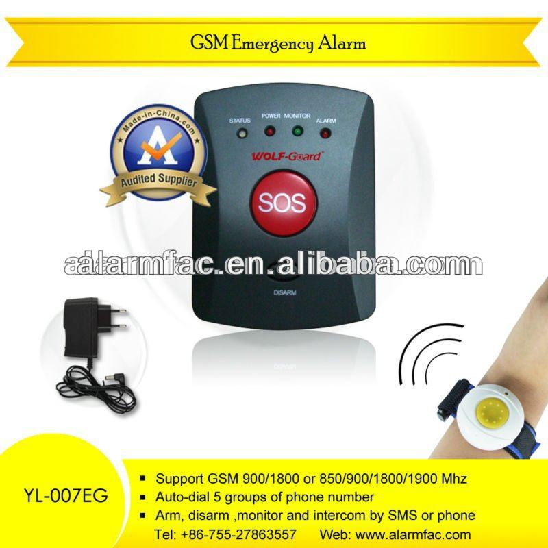 Help/emergency phone calling elderly alarm with waterproof panic button wristband