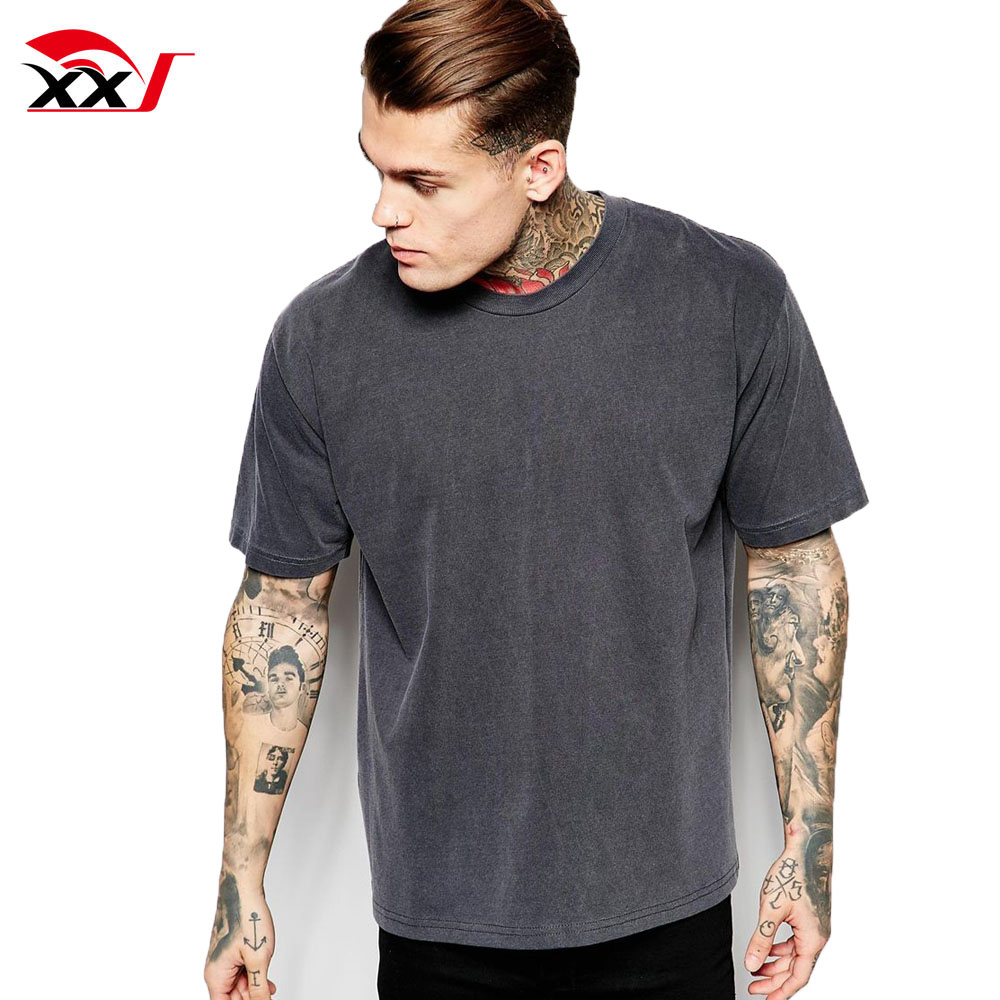 Custom mens tee oversize fit t-shirt vintage gewassen boxy t-shirt kleding leveranciers china mans t-shirt 2019