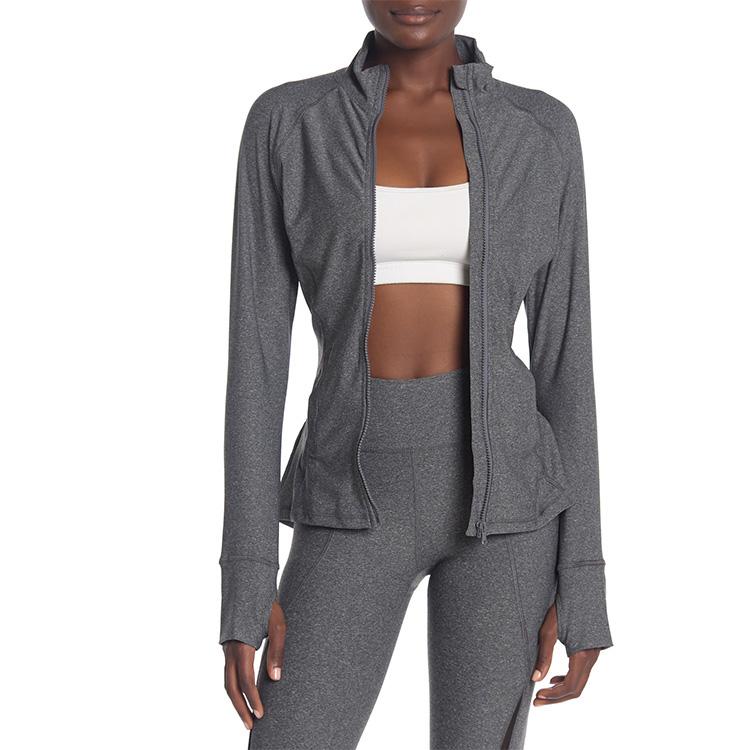 Lange Raglan Ärmeln Zipper Läuft Yoga Aktive Jacken mit Thumbholes