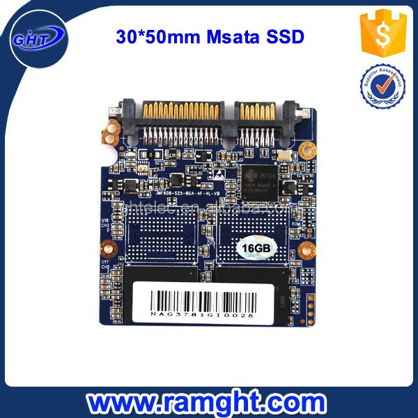 Portable MSATA 30X50X3.5mm JMF608 MLC Nand Flash ssd 16gb