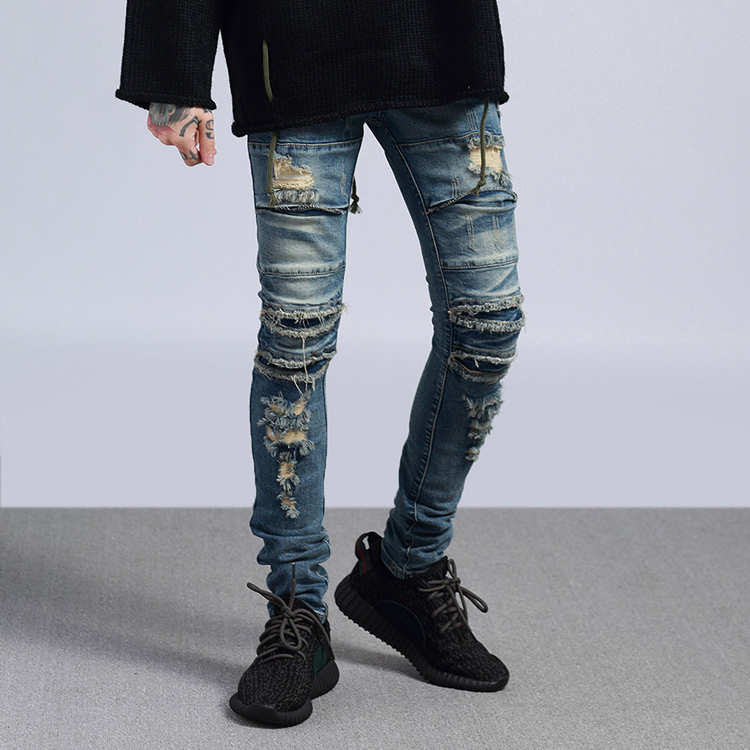 Uomini Distressed Skinny Fit Strappato Biker Jeans Destroyed Denim Pantaloni