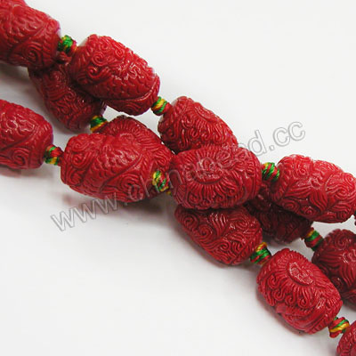 Latest drum shape carved mermaid design red coral beads gemstone beads for jewelry making