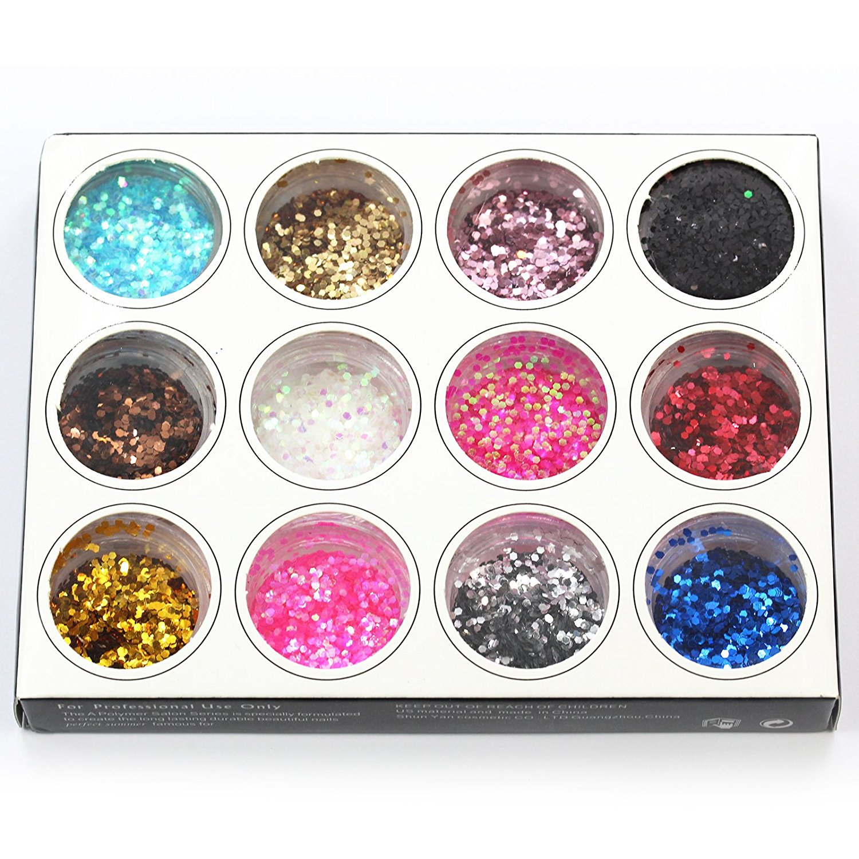 Perfect Summer 12pcs Different Colors DIY Nails Art Glitter Shiny Thin Sequins Paillette Dust Powder Manicure Beauty Decorations(round circle)