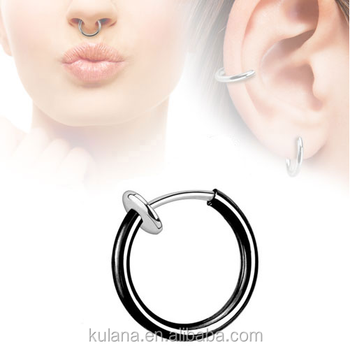 Surgical Steel Indian Nose Ring Piercing Body Jewelry Fake Gauge