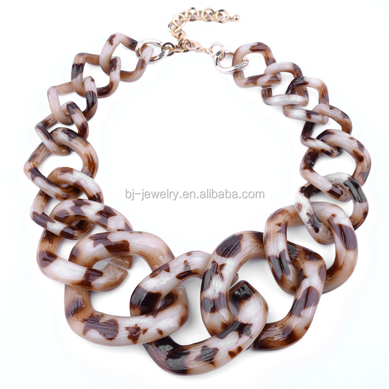 Women choker necklace wholesale acrylic resin leopard thick link chain necklace