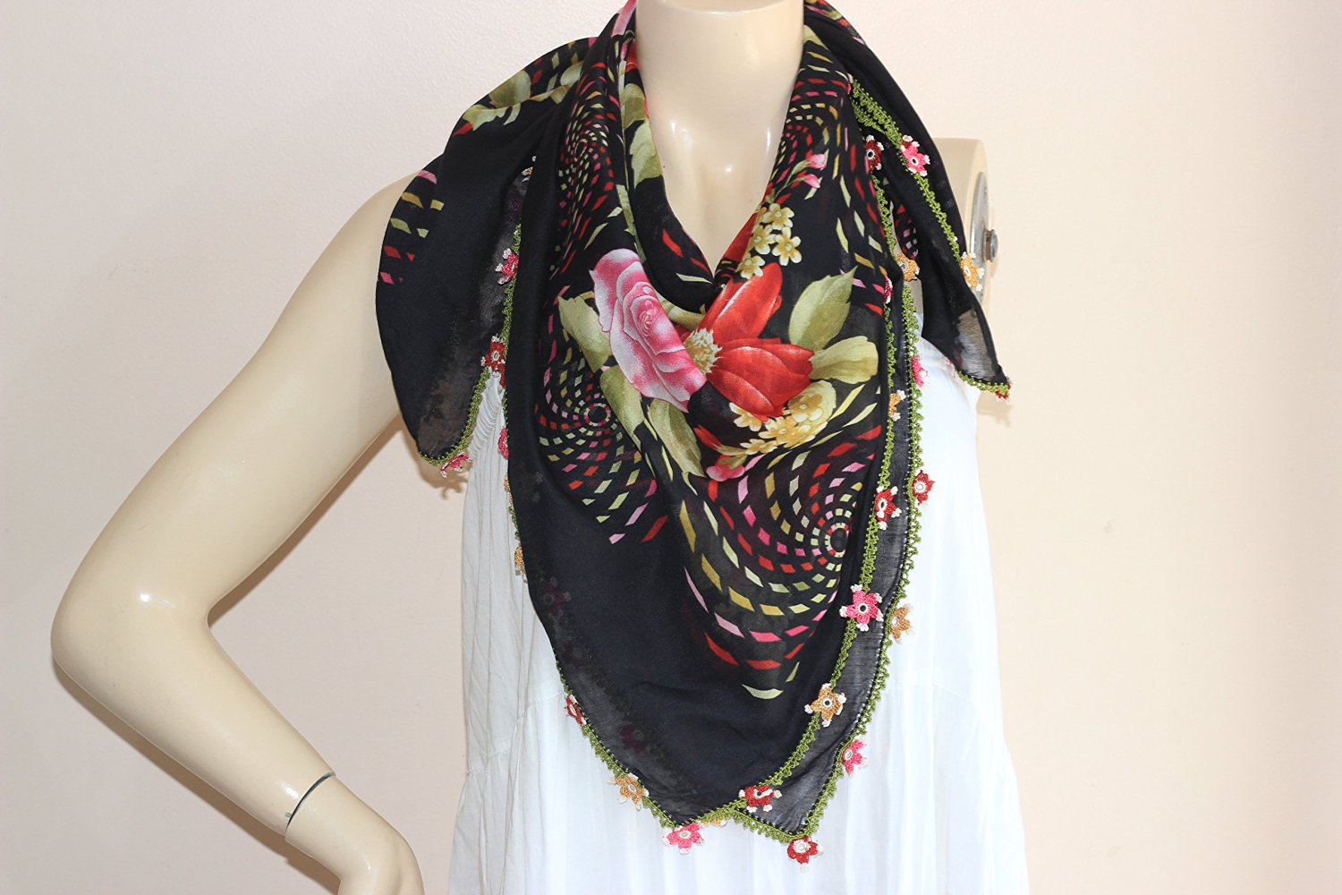 2fb250c4acde5 Get Quotations · Black Square Scarf /Turkish Anatolian Oya Scarf with  Handmade Lace Edges-red Rose Scarf