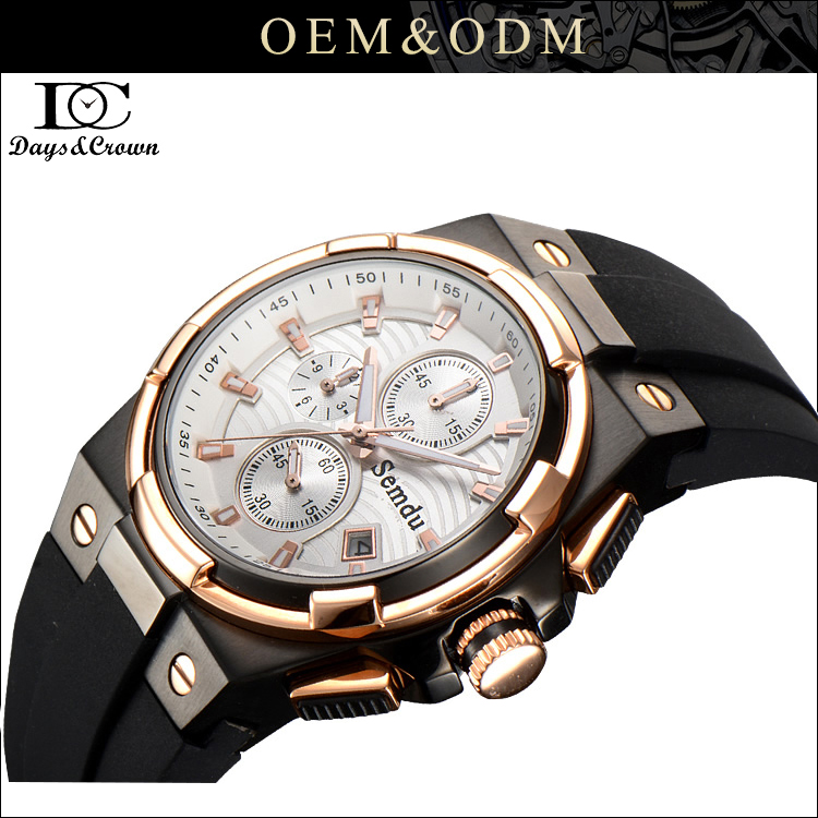 OEM Quartz Date Silicone Band Luminous Numerals Analog Military Multifunction Chronograph Mens watch