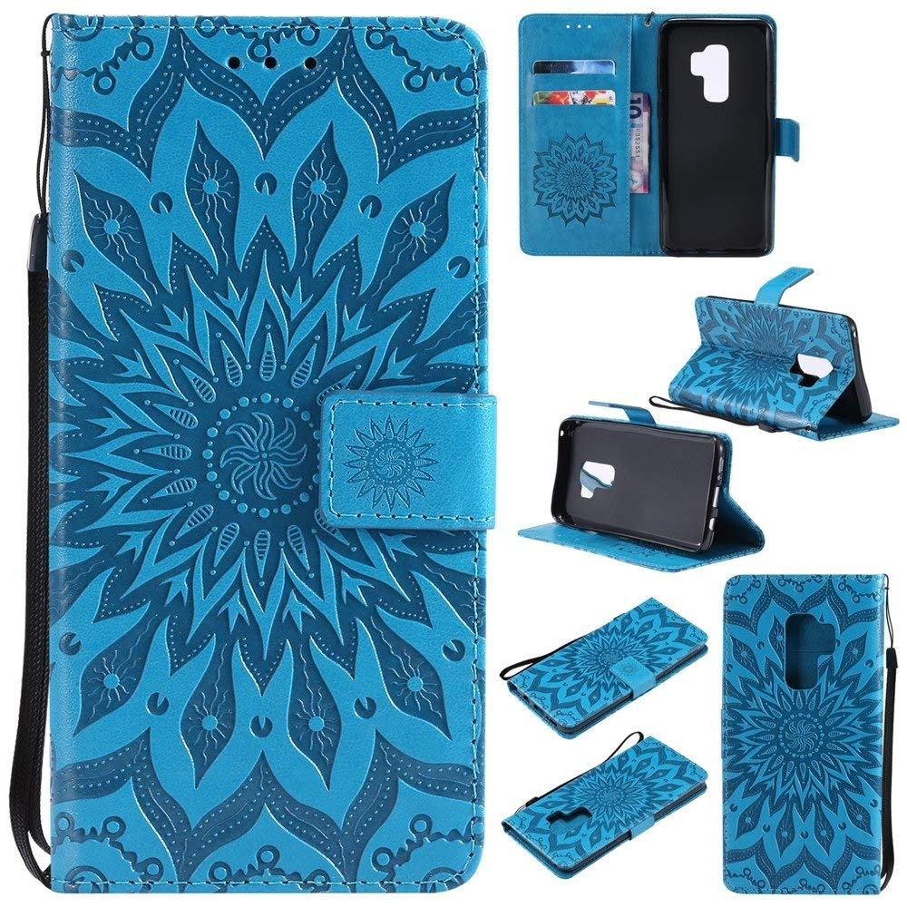 Galaxy S9 Plus Case,XYX [Blue Sun Flower][Wrist Strap][Kickstand][Card Slots] Premium PU Leather Phone Wallet Case for Samsung Galaxy S9 Plus