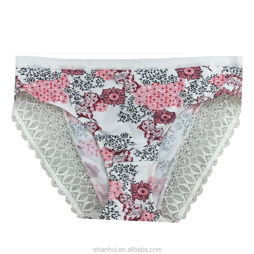 China factory OEM high quality underwear charming print underpanty exquisite lace nylon panty sexy ladies panty undergarments