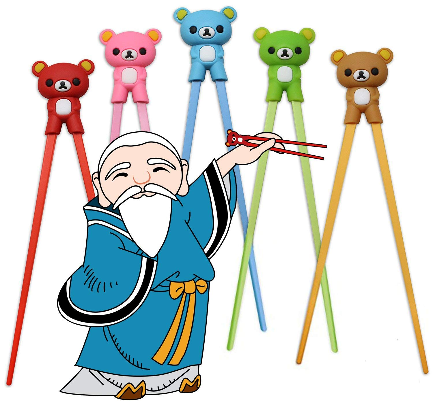 Childrens Training Chopsticks also for Adults and Beginners - Set of Assorted Colored Bear Shaped Chopsticks Comes with Attachable Learning Chopstick Ring Aids - Right or Left Handed